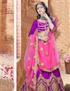 image of Pink And Purple Color Charming Designer Embroidered Satin Fabric Lehenga Choli