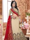 image of Cream Color 3 Piece Embroidered Lehenga Choli In Silk Fabric