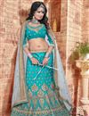 photo of Cyan Color Beautiful Designer Lehenga Choli With Embroidery Work
