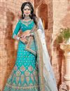 image of Cyan Color Beautiful Designer Lehenga Choli With Embroidery Work