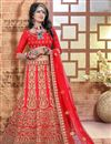 image of Red Color 3 Piece Embroidered Lehenga Choli In Silk Fabric