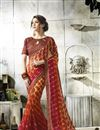image of Jacquard Lace Border Red Fancy Georgette Printed Saree