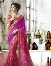 image of Jacquard Lace Border Pink Georgette Fancy Saree