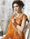 photo of Jacquard Lace Border Fancy Georgette Printed Saree In Orange