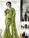 image of Georgette Jacquard Lace Border Printed Fancy Saree In Green
