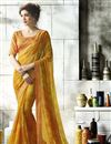image of Jacquard Lace Border Mustard Fancy Georgette Printed Saree