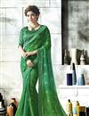 image of Jacquard Lace Border Green Georgette Printed Fancy Saree