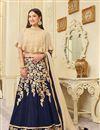image of Gauhar Khan Designer Blue Color Silk Fabric Embroidered Cape Style Lehenga Choli