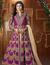 image of Mouni Roy Taffeta Silk Magenta Embellished Long Anarkali