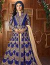 image of Mouni Roy Floor Length Taffeta Silk Anarkali Dress In Navy Blue