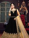 image of Velvet Fabric Designer Embroidered Anarkali Salwar Kameez In Black