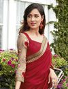 photo of Georgette And Net Fabric Wedding Wear Embroidered Saree In Red And Beige Color