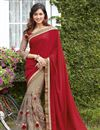 image of Georgette And Net Fabric Wedding Wear Embroidered Saree In Red And Beige Color
