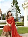 image of Georgette And Net Fabric Wedding Wear Designer Saree In Orange Color With Blouse