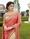photo of Georgette And Net Fabric Wedding Wear Embroidered Saree In Peach And Beige Color