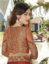 picture of Rust And Brown Color Wedding Wear Georgette And Net Fabric Designer Saree With Embroidery