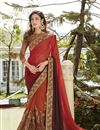 image of Rust And Brown Color Wedding Wear Georgette And Net Fabric Designer Saree With Embroidery