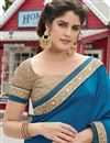photo of Designer Embroidered Blue And Beige Color Saree In Georgette And Net Fabric With Dhupion Blouse