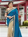 image of Georgette And Net Fabric Wedding Wear Designer Saree In Blue And Beige Color With Blouse