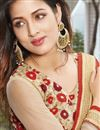 photo of Georgette And Net Fabric Wedding Wear Designer Saree In Red And Cream Color With Blouse