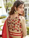 picture of Designer Embroidered Red And Cream Color Saree In Georgette And Net Fabric With Dhupion Blouse