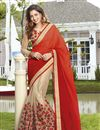 image of Georgette And Net Fabric Wedding Wear Designer Saree In Red And Cream Color With Blouse