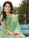 photo of Georgette And Net Fabric Wedding Wear Designer Saree In Green Color With Blouse
