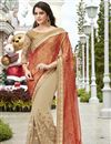 image of Georgette And Net Fabric Wedding Wear Embroidered Saree In Beige And Rust Color
