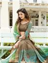 photo of Designer Embroidered Beige And Green Color Saree In Georgette Fabric With Dhupion Blouse