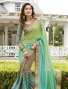 image of Designer Embroidered Beige And Green Color Saree In Georgette Fabric With Dhupion Blouse