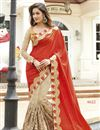 image of Georgette And Net Fabric Wedding Wear Designer Saree In Red And Beige Color With Blouse