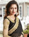 photo of Wedding Wear Black And Beige Color Designer Georgette Fabric Embroidered Saree