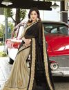 image of Wedding Wear Black And Beige Color Designer Georgette Fabric Embroidered Saree
