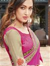 photo of Magenta And Beige Color Wedding Wear Georgette Fabric Designer Saree With Embroidery