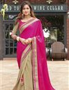 image of Magenta And Beige Color Wedding Wear Georgette Fabric Designer Saree With Embroidery