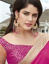 photo of Embroidered Georgette And Net Fabric Designer Saree In Magenta And Peach Color With Dhupion Blouse