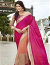image of Embroidered Georgette And Net Fabric Designer Saree In Magenta And Peach Color With Dhupion Blouse