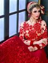photo of Georgette Fabric Red Color Festive Wear Designer Long Anarkali With Embroidery Work