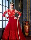 image of Georgette Fabric Red Color Festive Wear Designer Long Anarkali With Embroidery Work
