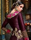 picture of Fancy Fabric Wine Color Festive Wear Designer Long Anarkali With Embroidery Work