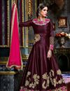 image of Fancy Fabric Wine Color Festive Wear Designer Long Anarkali With Embroidery Work