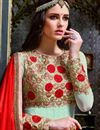 picture of Festive Wear Georgette Fabric Embroidered Long Anarkali Salwar Suit In Sea Green Color
