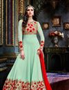 image of Festive Wear Georgette Fabric Embroidered Long Anarkali Salwar Suit In Sea Green Color