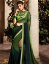 image of Embroidered Function Wear Green Fancy Fabric Saree With Fancy Blouse
