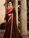 image of Brown Fancy Fabric Party Style Designer Saree With Embroidered Blouse