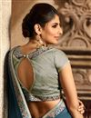 photo of Sky Blue Function Wear Fancy Fabric Embellished Saree With Heavy Blouse
