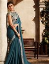 image of Sky Blue Function Wear Fancy Fabric Embellished Saree With Heavy Blouse