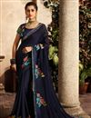 image of Embroidered Function Wear Fancy Fabric Saree With Fancy Blouse