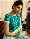 photo of Sea Green Party Style Designer Saree With Embroidered Blouse