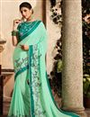 image of Sea Green Party Style Designer Saree With Embroidered Blouse